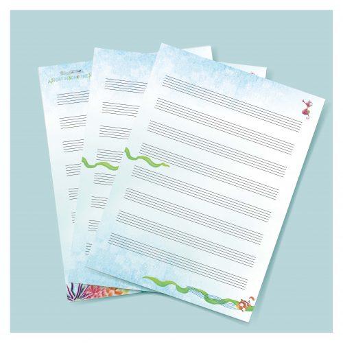 🌊🌊海底的故事🌊🌊 - 空白五線譜-直式 / 橫式 (A4雙面) - 25張 /包